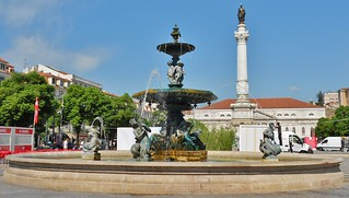 Rossio Square Fountain - on Praca Dom Pedro IV in Lisbon