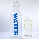 Stenciled Glass Water Bottle Tutorial by Fabric Paper Glue