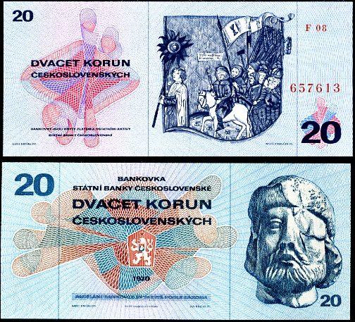 20 Kčs I. Dvadsať korún Československo 1970, Pick 92