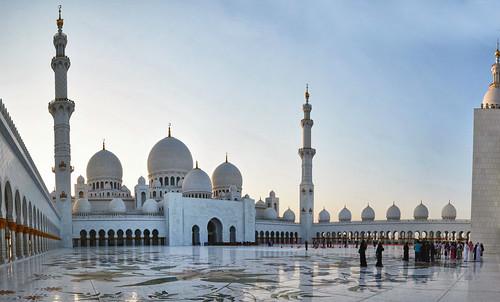 people building architecture sunrise desert muslim islam religion uae culture belief mosque clear tolerance emirates abudhabi domes minarets sheikhzayed