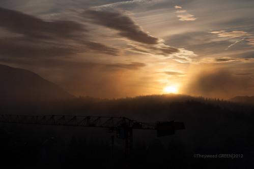 morning autumn sky sun green fog sunrise photography photo nikon image slovenia slovenija crain cloudporn d90 velenje nikond90 theyweed glovenia