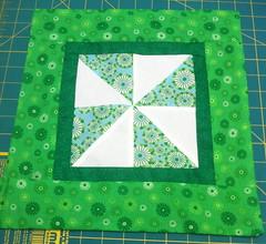 Green & White Floral Pinwheel Pillow