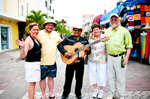 Our posse with our Guitarrón Amigo in the Plaza Cozumel Mexico