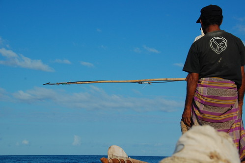 Whale Hunting man with harpoon in Lamalera, Indonesia