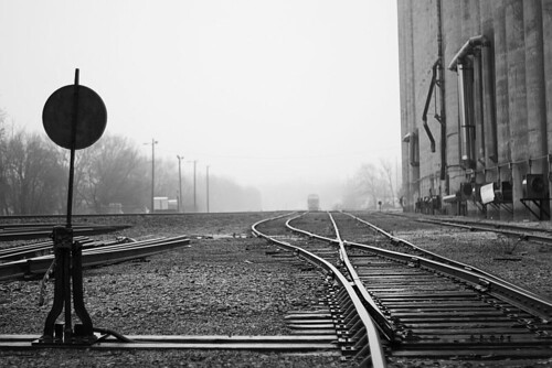 blackandwhite bw mist up rain switch lawrence kansas unionpacific lawrenceks uprr