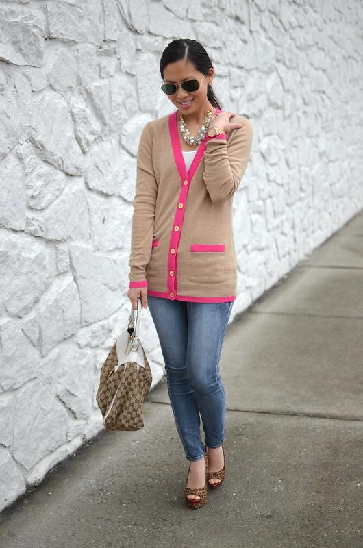 C. Wonder pink & beige cardigan