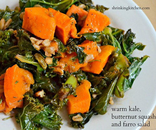 warm kale, butternut squash and farro salad