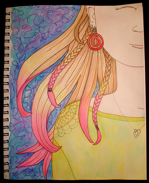 pink hair illustration