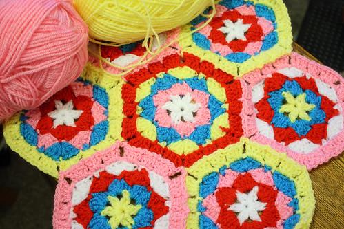 Crochet hexagons by Helen in Wales