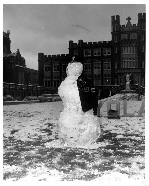 Loyola's very own snowman - on the lawn in front of Marquette Hall.