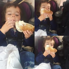Driving back from the Rockaway's at 8 in the morning this past Tuesday... Oops, mom forgot breakfast! Here is a giant bagel with cream cheese to eat in your car seat. #bestideaevermom #worstideaevermom #violetavery #vacationeats