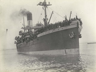 Troopship NESTOR underway from Melbourne