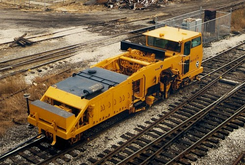 Belt Railway of Chicago track maintenance vehicle.  Cicero Illinois.  November 1988. by Eddie from Chicago
