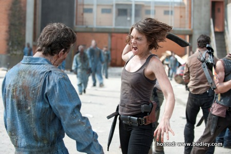 Maggie Greene  (played by Lauren Cohan) fending off a zombie attack