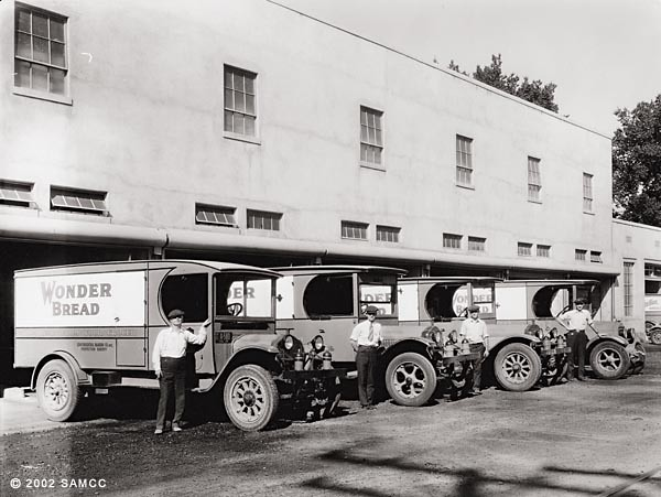 Wonder Bread 1920 Wonder bread bakery trucks parked in front of the    Wonder Bread 1920