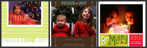 Some of our previous holiday cards. We always use photo cards.
