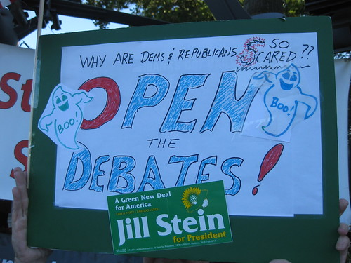 Jill Stein sign to Open The Debates