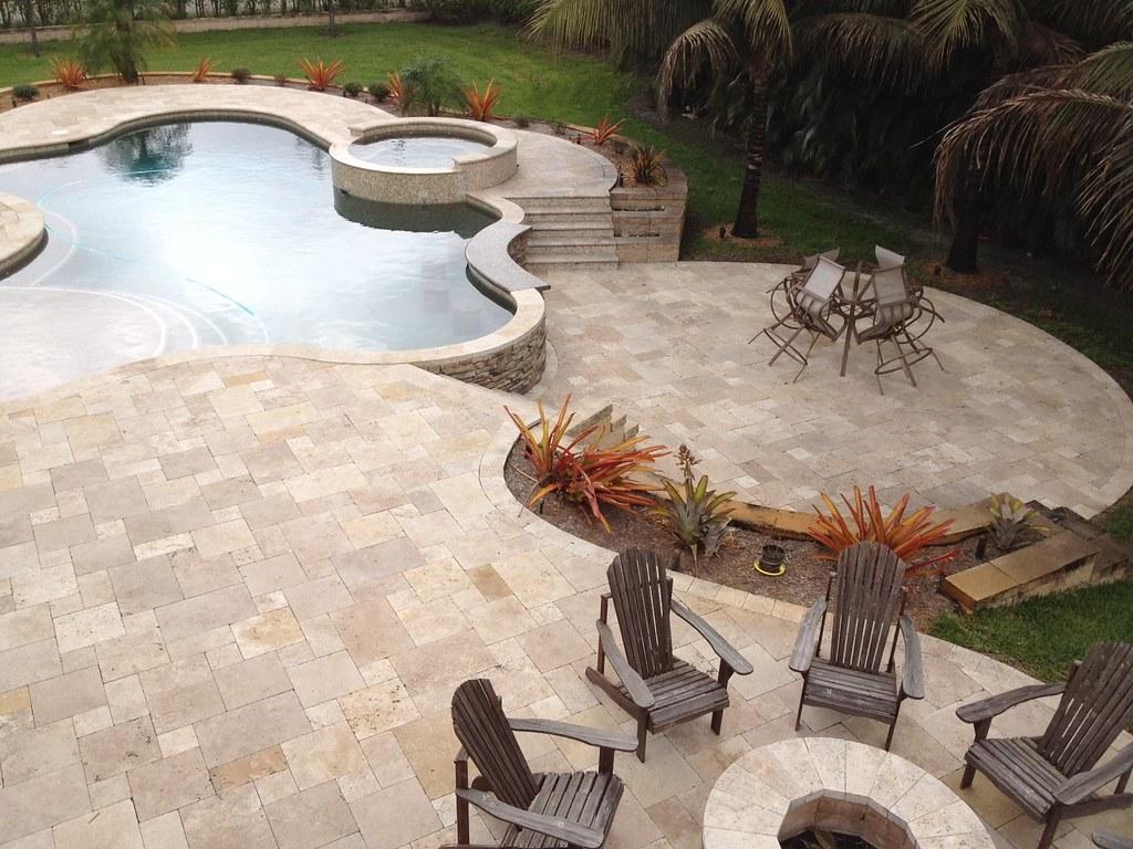 Belgard Pavers On Patio And Pool Deck; Tumbled Travertine_Walnut ...