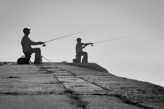 Monochrome, Fishing, Fishermen, Lake Michigan, Algoma, WI, B&W, Pier