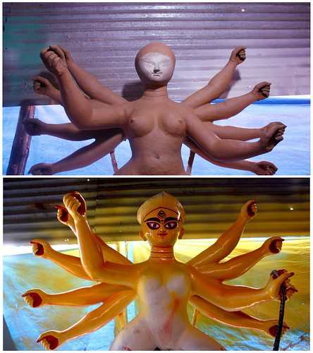 Before and After Durga Idol