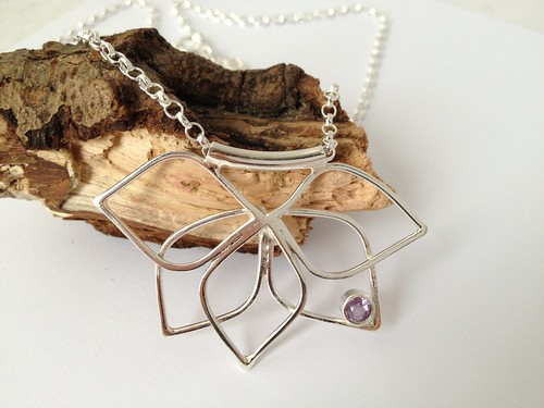 sterling silver amethyst pendant by Eve smith,silvermeadows.
