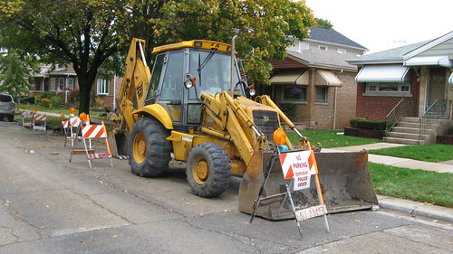 Sewer repairs on North 74th Court.  Elmwood Park Illinois.  October 2012. by Eddie from Chicago