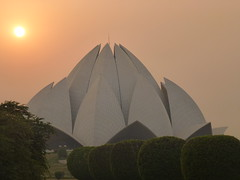 Baha'i House of Worship, Delhi, at sunset.