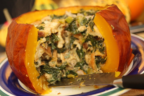 Roasted Pumpkin with Sausage Pretzel Stuffing