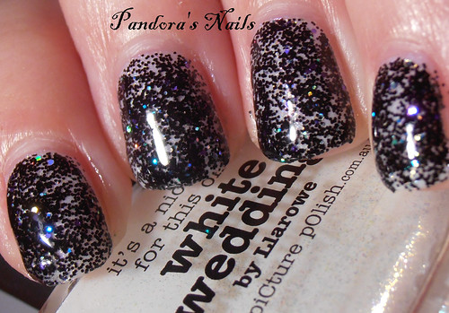 Crowstoes Triple Black Diamond over Picture Polish White Wedding 1
