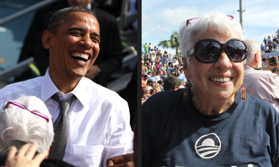 Betty's Obama earrings were a big hit with the President in Delray Beach