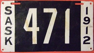 SASKATCHEWAN 1912 ---LICENSE PLATE, THREE DIGIT