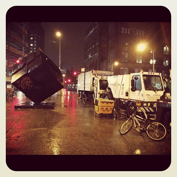 The Astor Place Cube in the East Village during hurricane Sandy