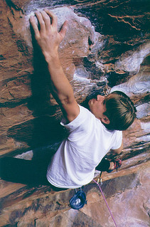 Photographer Grayson Schaffer '01 caught Tyler Dillavou '01, an active member of Pomona's climbing team, on Rebel Without a Pause in Red Rocks, Nevada. This photo was published in a 1999 Pomona College Magazine.