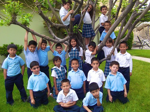 First graders in convent garden of the Nativity School