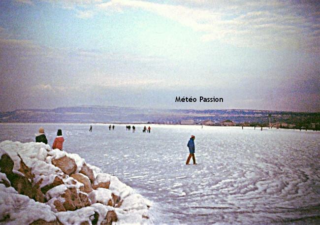 étang de Berre gelé durant la vague de froid de janvier 1985 météopassion