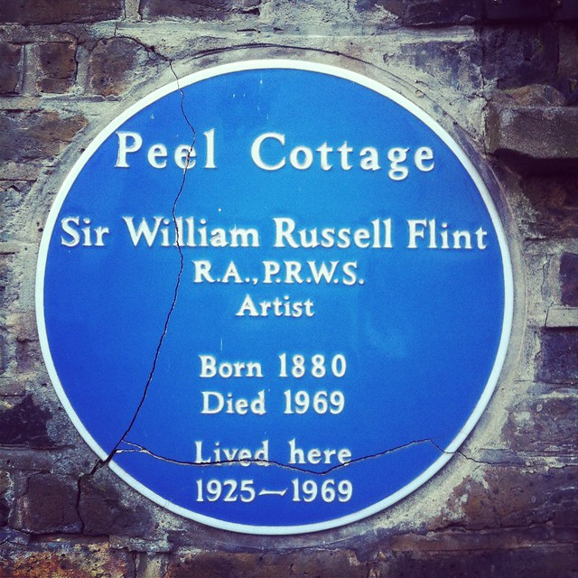 William Russell Flint blue plaque - Peel Cottage. Sir William Russell Flint RA PRWS artist born 1880 died 1969 lived here 1925-1969