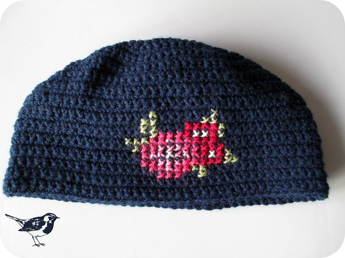 Cross stitch crochet hat