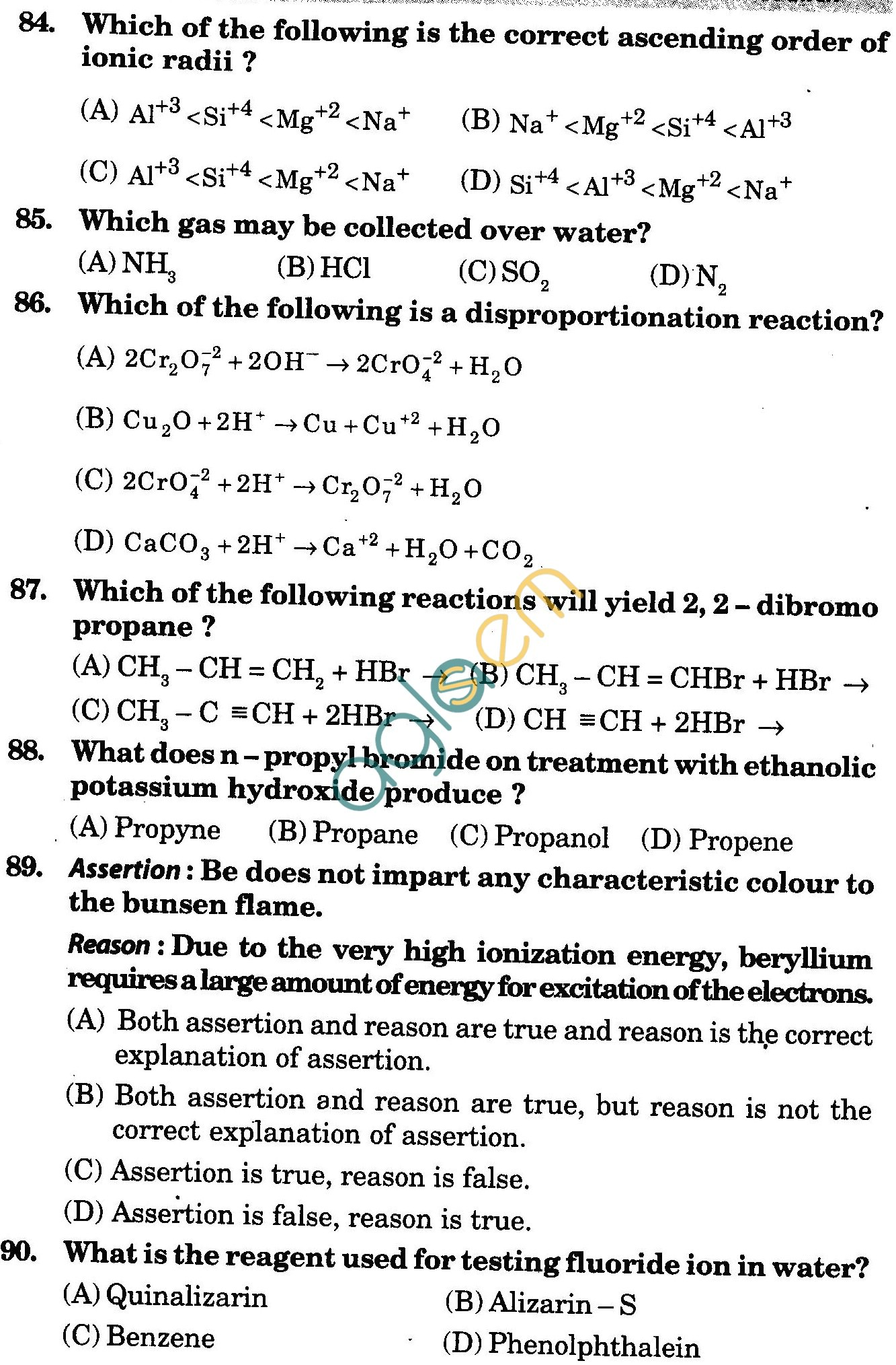 NSTSE 2010 Class XI PCB Question Paper with Answers - Chemistry