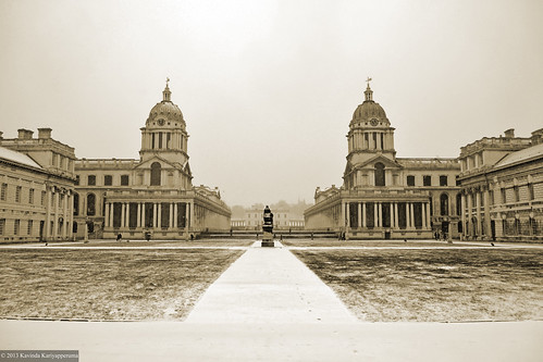 Old Royal Naval College Buildings in Snow