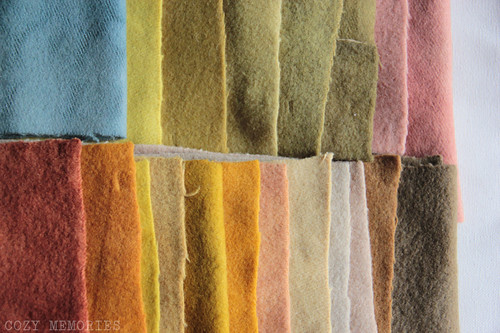 rainbow of naturally dyed felted wool