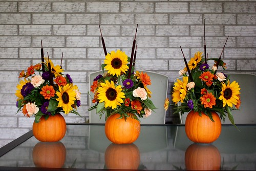 Pumpkin flower arrangement thanksgiving centrepiece