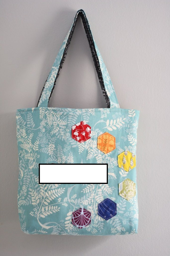 Mouthy Stitches tote, reversible/alternate side. Who is hiding under that blank spot?