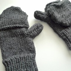 men's loom knit convertible mittens