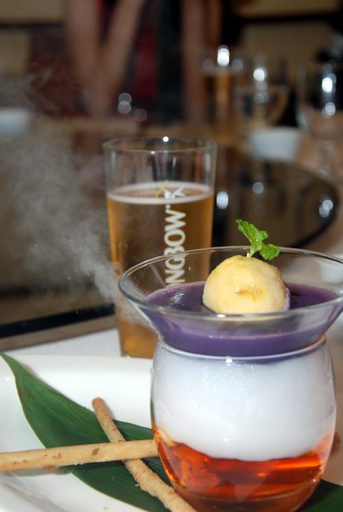 oktoberfest Purple Sweet Potato Garnished with Mango Ice Cream Accompanied by Lotus Paste Chinese Pancake