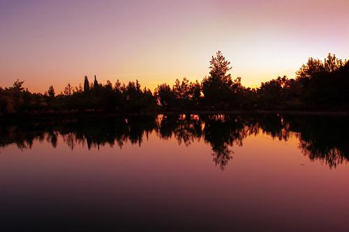 lake landscape dusk greece crete zaros