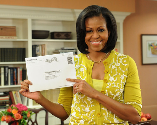 Michelle Obama votes by mail--October 15th