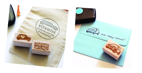 mini cooper union jack rubber stamps vitamini