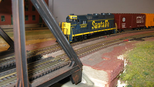 Atchison, Topeka & Santa Fe freight train approaching the swing bridge. by Eddie from Chicago