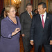 UN Women Executive Director Michelle Bachelet speaks with Peruvian President Ollanta Humala Tasso during her two-day visit to the country on 16 October 2012