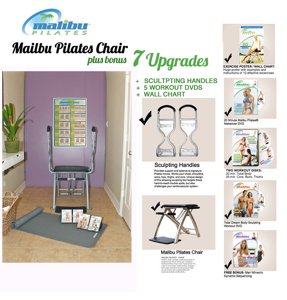 Pilates Mat Exercise Poster: Awesome Malibu Pilates Exercise Chair W/ Handles And